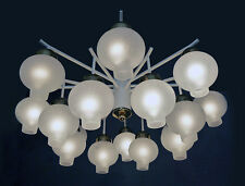 Large 16 lights TULIPAN Chandelier frosted glass by KAISER LEUCHTEN