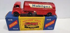 MATCHBOX MAJOR PACKS M-8 MOBILGAS TRUCK Rare Black Plastic Wheels in Box