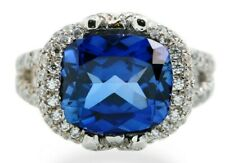 Simulated 925 Sterling Silver Ring Blue Cushion Engagement Party Jewelry Size 7