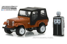 Scale model car 1:64, JEEP CJ-5 with Vintage Gas Pump 1974 Copper Metallic