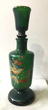 Antique Bohemian Czechoslovacia Frosted Green Glass Hand Painted Decanter