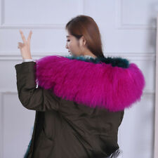 "Real Rose Mongolian Fur Collar Hood Trimming Scarf 31.5"" 80x25cm Fur Scarf"