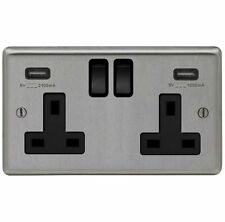 BRUSHED STAINLESS STEEL DOUBLE SOCKET + 2 X USB CHARGING OUTLET WITH BLACK TRIM
