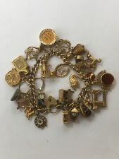Vintage 9ct Gold Oval Link Charm Bracelet 28 Charms, Safety Chain 85.7Grams