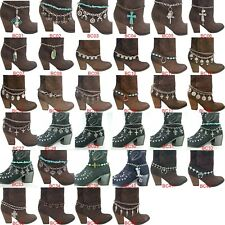 Chain Anklet Bracelet with Charms Bch1 24 Varieties Women's Metal Western Boot
