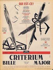 PUBLICITE ADVERTISING 114 1956 CRITERIUM Bille ou Major stylo