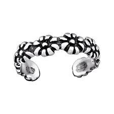 Tjs 925 Sterling Silver Toe Ring Flower Band Daisy Design Adjustable Oxidised