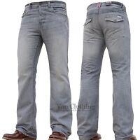 BNWT New Mens APT Designer Boot Cut Wide Leg Flared Denim Jeans Pants Size 28-48