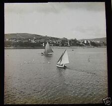 Glass Magic Lantern Slide YACHTS OFF LAND C1910 PROBABLY ISLE OF MAN