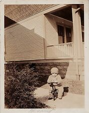 Vintage Antique Photograph Adorable Little Baby Riding Tricycle Bike by House