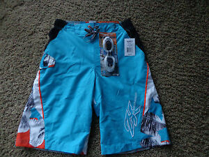 ZEROXPOSURE boy's NWT sz L (14-16) surf swim shorts w/goggles ocean color