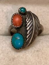 OLD NAVAJO DEAD PAWN STERLING SILVER TURQUOISE RED CORAL Leaf RING Size 3