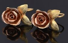 #055 Estate Vintage 14k Rose and Yellow Gold Flower Earrings Not Scrap 7.8 Grams