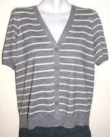 Talbots Woman Petites Striped Silver Short Sleeve Button Down Cardigan Size 1XP