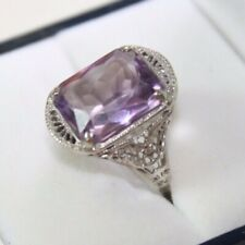 100% Genuine 14k White Gold Huge 6 ct Emerald ct Amethyst Filigree Ring US 3.75
