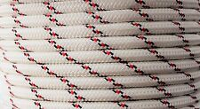 10mm x 35m Polyester Rope Double Braided White Black Red - Yacht Sailing Mooring