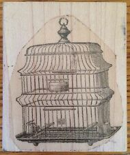 Birdcage Wood Mounted Rubber Stamp Bird Cage