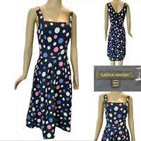 LAURA ASHLEY Women Polka Dot Fit & Flare Linen Dress UK 16 Blue/White Rockabilly