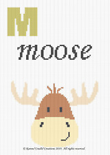 Crochet Patterns - Letter M - MOOSE Baby Graph Chart Afghan Pattern
