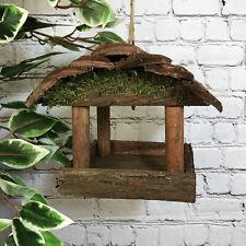 More details for hanging wooden bird table feeder rustic garden wild seed feeder