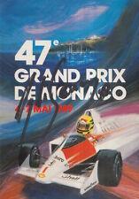 Ayrton Senna Hand Signed Monaco Postcard F1.