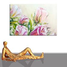 ☻ GEMÄLDE BLUMEN ☻ BILD KUNST MALEREI KAUFEN ROMANTIK NATUR 120 x 80 ☻ GERAHMT