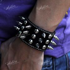 Black Cowhide Rivet Spike Coin Men's Bracelet Punk Rock Leather Wristband Gothic