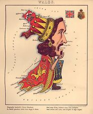 Il Galles geografica divertente ATLAS Vintage Antico Vecchio Colore Riproduzione Mappa gallese