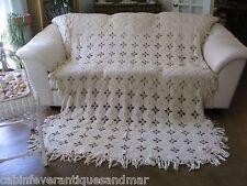 Vintage Ecru Tan Crochet Octagon Popcorn Full Twin Bedspread Coverlet 98x64
