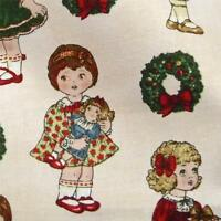 Cotton Fabric Per ½ Yard Floral Print, Adorable Christmas Dolls by Windham
