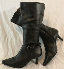 Air flex Black Mid Calf Leather Lovely Boots Size 5.5 (393Q)