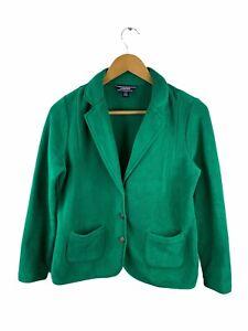 Lands End Womens Button Up Jacket Size S Green Long Sleeve Polar Fleece Pockets