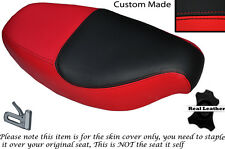 BLACK & RED CUSTOM FITS PIAGGIO SFERA 50 91-94 DUAL LEATHER SEAT COVER