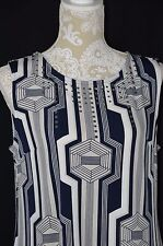 Alfani Womens Medium Sleeveless Tunic Dress Top Blue White Beige Embellished