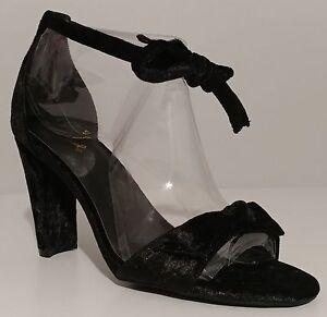 """NEW!! Qupid Goodney-01 Black Crush Velvet Sandals 4"""" Heel Size 8.5M US 38.5M EUR"""