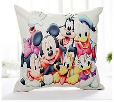 "Disney Mickey Minnie Cartoon 17"" Square Cushion Cover Pillow Case Cute Home Gift"