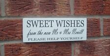 Wedding shabby vintage chic sweet wishes mr & mrs Table Signs Plaque candy bar