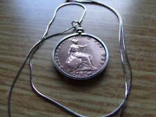 "Antique UK 1853 English Copper Penny Pendant on a 20"" Italian Silver Round Chain"