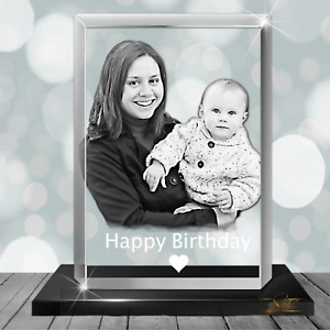 Baby and Mum gifts - Stunning Engraved Photo Glass Crystal Block Personalised  -