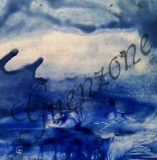 Abstract modern art tableau cire signé artwork blue encaustic signed colorful