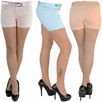 Hot Pants mit Gürtel Hotpants Jeans Shorts Kurze Hose Capri Hüft Stretch 123