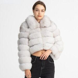 Women's Real Fur Jacket Zipper Cropped Fur Coat Winter Warm Outerwear 37636E