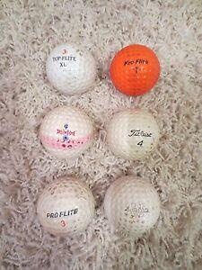 6 VINTAGE GOLF BALLS - PRO-FLITE, TOP-FLITE, KRO-FLITE, TITLEIST, SATELLITE, ETC