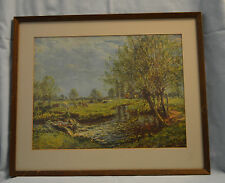 Cows Grazing By A Stream Framed Print 11 by 15 In. in 18 3/4 by 15 3/4 In.Frame
