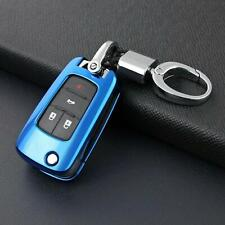 For Chevrolet Buick Flip Key Fob Chain Keychain Accessories Case Cover Ring Blue