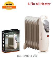 DAEWOO MINI 800W 6 FIN HEATER OIL FILLED RADIATOR PORTABLE ELECTRIC THERMOSTAT