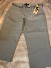 RIDERS by LEE WOMEN'S MID RISE CAPRI SIZE 12 LIGHT BLUE WITH WOVEN BELT 4 POCKET