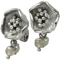 NEW EVITA PERONI EARRINGS SILVER PLATED FLOWERS DESIGN GLASS PEARLS CLIP ON RARE