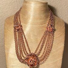 Tuleste Rose Flower Collar Necklace High End Designer Gold Rare Statement Choier