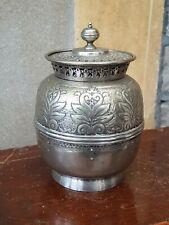 Antique-Ornate Raj Style Silver Plated Biscuit Barrel-Martin Hall & Co-c1910